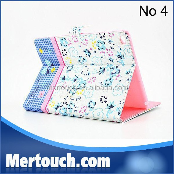 Flowers inset diamond Printing case for iPad air Flip stand leather tablet case for Apple iPad case