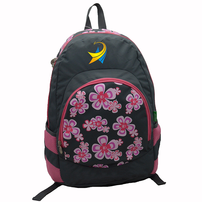 Factory customized fashion 2 zip compartments floral printed backpack school bag