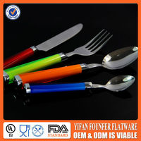 Stainless steel Christmas flatware with plastic handle