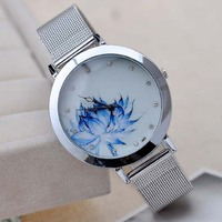 Hours Silver Simple Design Watch Women Stainless Steel Back Quartz Saat