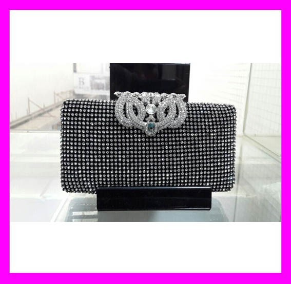 Unique design fashionable lady clutch bag austrian crystal evening bags HD1801