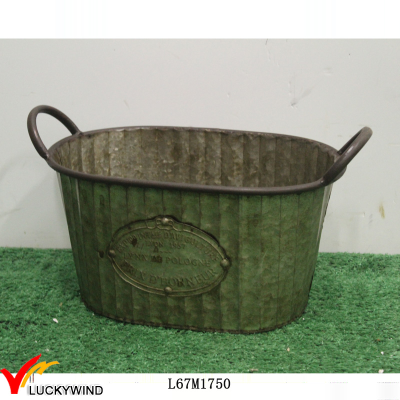 Antique Small Oval Galvanized Trough Planters