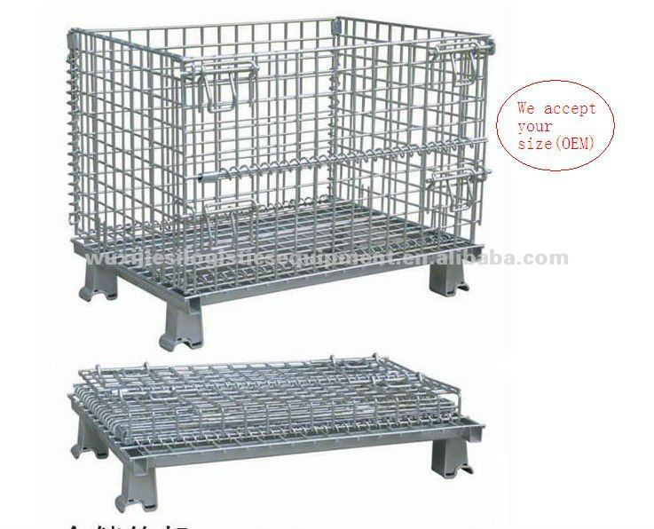 JS Folding storage cage, Warehouse stackable steel cage