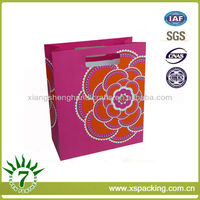 Lady Style Pretty Big Peony Printing Fashion Style Paperboard Carrying Gift Shopping Bags Bulk Price