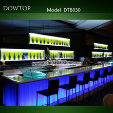 Modern nightclub furniture illuminated cocktail long glass bar table with lights