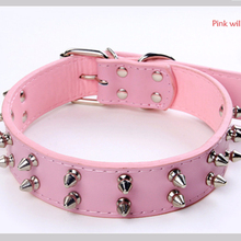 Pit bull large dog collar Genuine Leather spiked dog collars