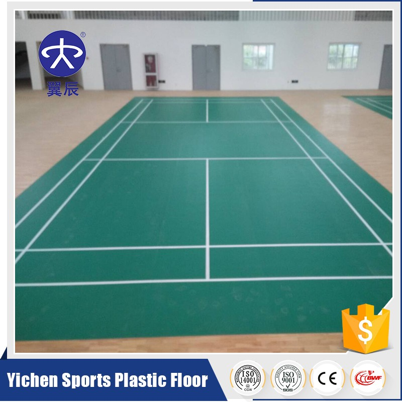 Yichen indoor green litchi grain pvc badminton flooring