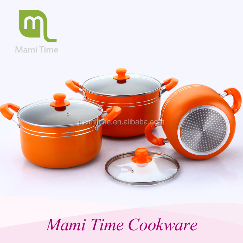 2015 hot sale stock pot enamelware wholesale pot set with glass lid