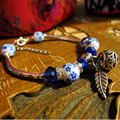 Chinese Blue & White Porcelain Glass & Silver Beaded Charm Design Bangle Bracelet