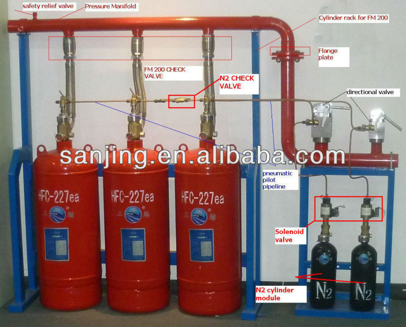 FM200 clean agent gas fire extinguisher FM200 fire suppression system