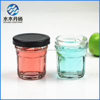 30ml mini jam glass jars with black metal lids food storage glass jar for canning