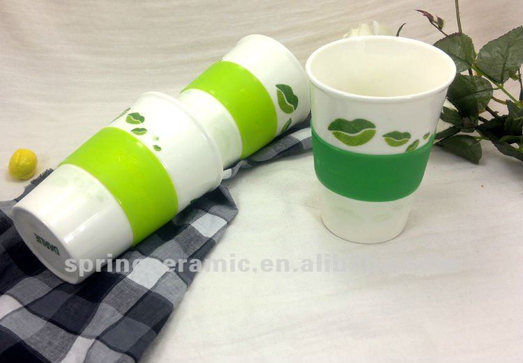 16oz ceramic coffee mug silicone band
