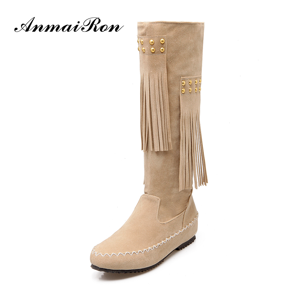 fashion flat heel women ladies suede tassel knee high <strong>boots</strong>
