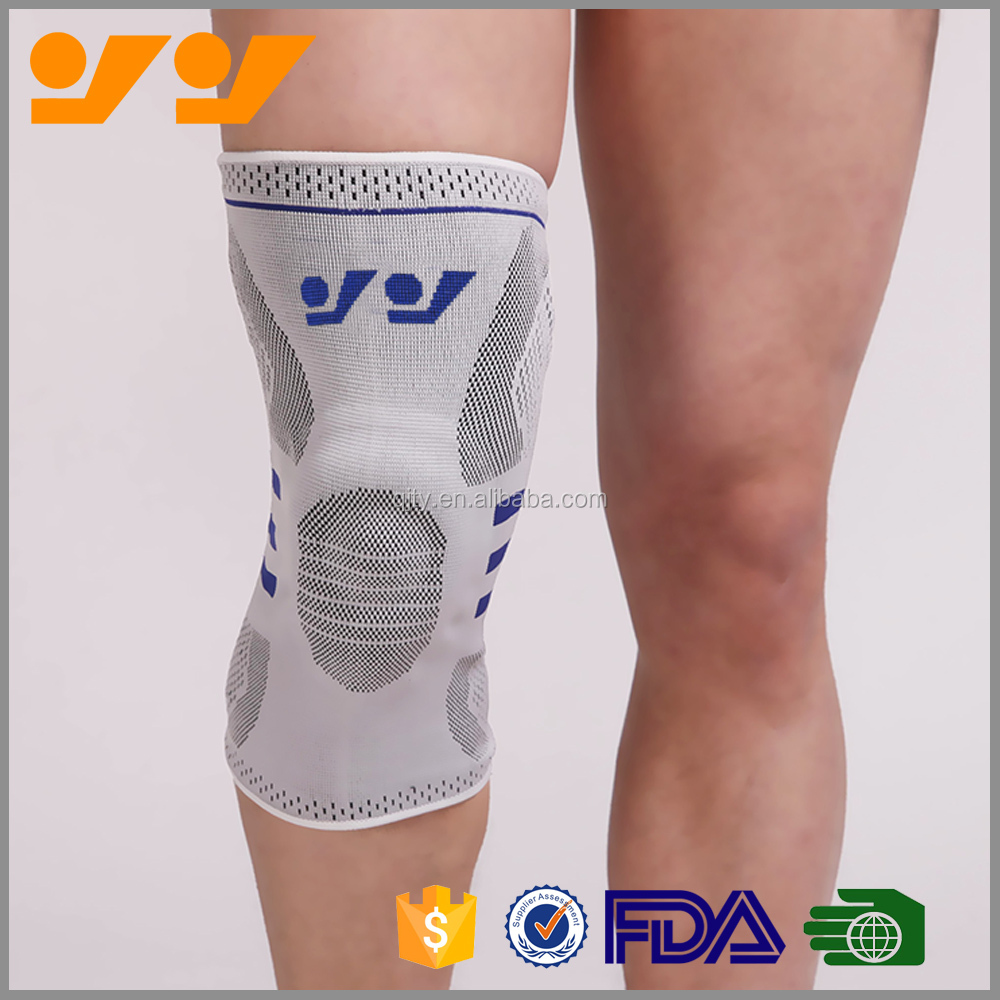 Wholesale Nylon Knitting Knee Support with silicon gel knee Sleeve