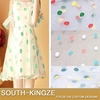 New organza embroidery lace fabric white with dot women's fahion dress fabric 135cm