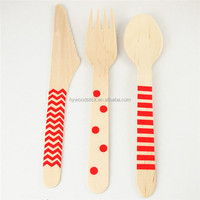 160mm Disposable Wood Utensil Wooden Knife Fork and Spoon