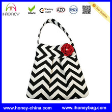 new style popular cotton chevron diaper tote bag with small flower