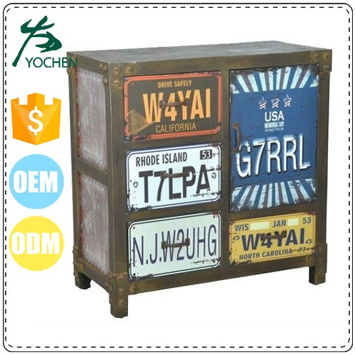 old fashion wood drawers and metal frame luggage storage cabinet