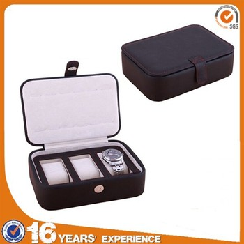 Wholesale travel leather carrying case manufacturer, empty display wrist watch case