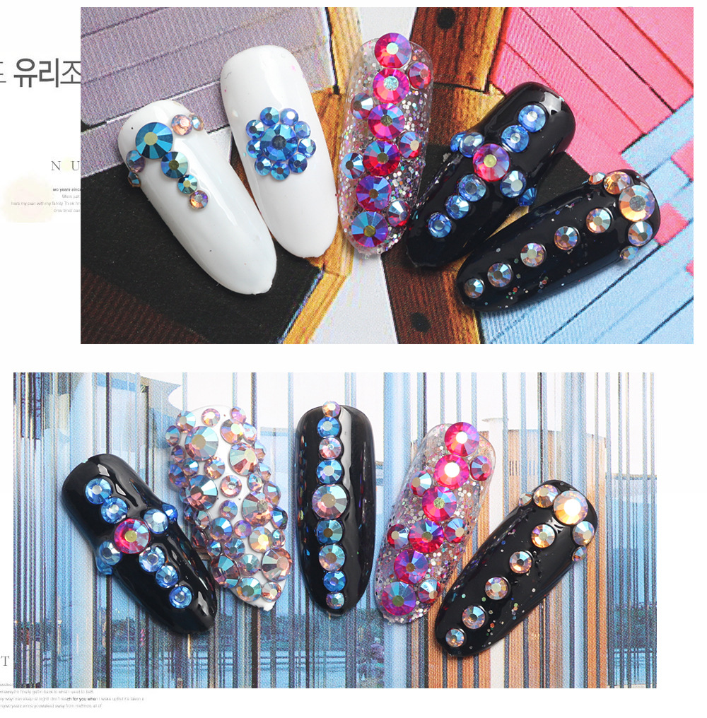 Japanese hot sale nail art decoration five color symphony rhinstone 3d nail art in box