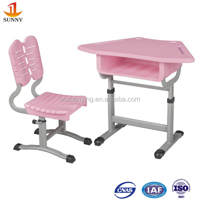 Plastic school furniture single school desk with chair
