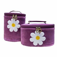 Purple sunflower embroidery cylinder velvet cosmetic bag