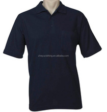 Knitting adult pique 65/35 polyester cotton navy blue polo shirts with pocket