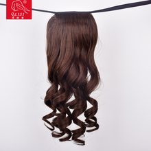 Long Curly Wave Black Natural Color Clip In Ponytail Wrap Around Hair Piece Extension