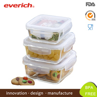 Everich BPA FREE Microwave Safe Square Glass Lunch Box With Lid