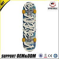 Customized wholesale 9 ply chinese maple double kick concave deck 80AB black grip tape skateboard