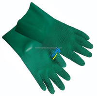 Cotton Lined Long cuff Green Latex Rubber Coated Garden Glove Work Industrial