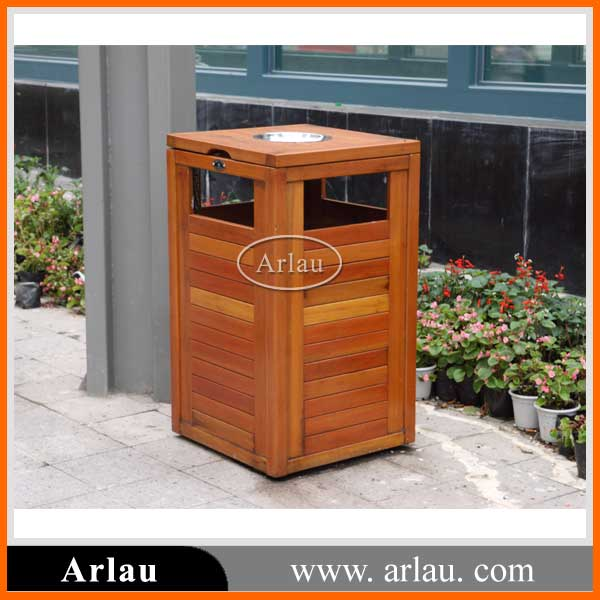 High quality Outdoor single square wooden trash bin with Ashtray for sale