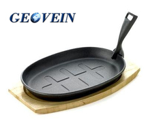 Amazon Hot Selling Metal Steak Sizzler Plate Oval Cast iron Sizzling Plate