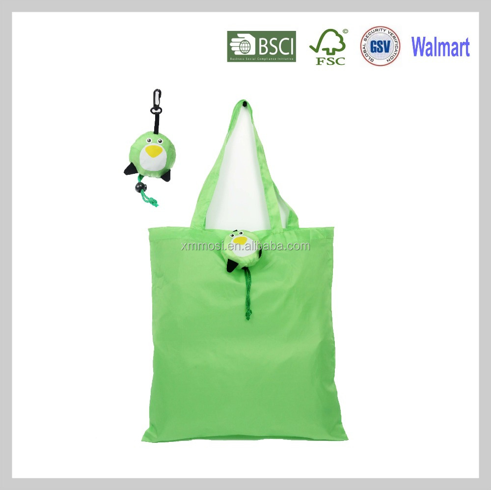 Fold penguin Long handle foldable grocery shop foldable bag foldable pouch polyester