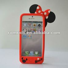 3D Mickey Mouse Bow Silicone rubber Case Cover for For iPhone 5 5G