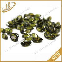 Synthetic cubic zirconia dark olive stone marquise shape loose cz stone