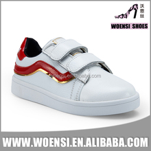 new best selling low price boys white color PU upper simple customized skateboard shoes