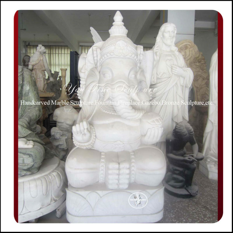 White Natural Ganesh Marble Statues