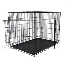 Large foldable metal pet dog puppy cage collapsible dog kennel with tray