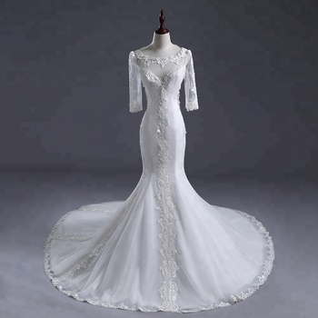 Elegant Wedding Dresses  Bride Wear Lace Women Long Lace Sleeve sexy back  Wedding Dresses Mermaid bridal wedding dress 2018