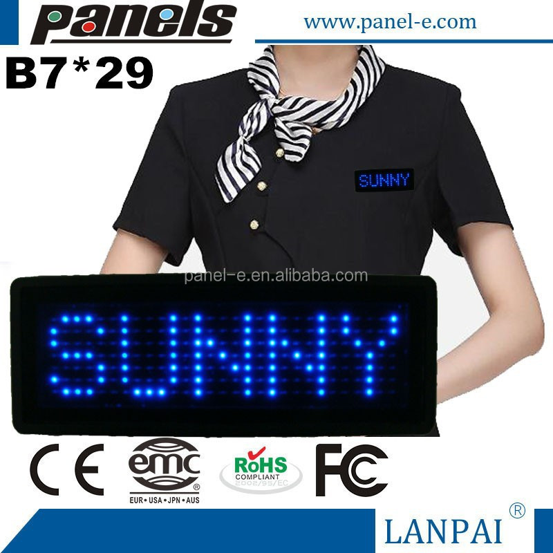 Blue Programmable Message moving LED Name Badge Tag Sign