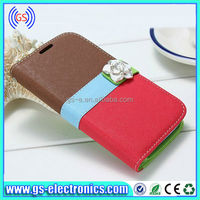 Elegant flower leather case for iPhone5/5S wallet style with credit card solts