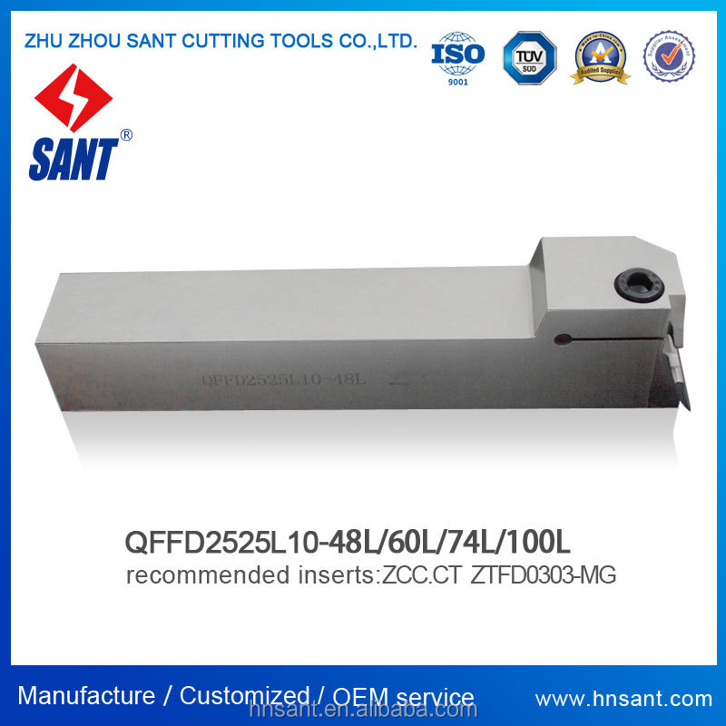 Zhuzhou Sant cnc cutting tools Surface Grooving tool holder QFFD2525L10-48H with Zccct inserts ZTFD0303-MG with good quality