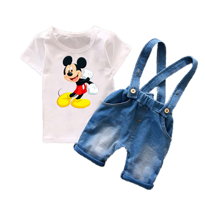 Bulk Wholesale Kids Clothing Summer 2017 child clothes Mickey Suspender Boys Suits Cotton Cartoon Boys Clothing Set Y60