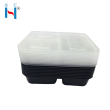 Clear Transparentplastic Food Disposable Black Plastic Partition Food Container