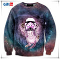 Fashion round neck pullover, custom 3d sublimation multi colored hooded sweatshirts