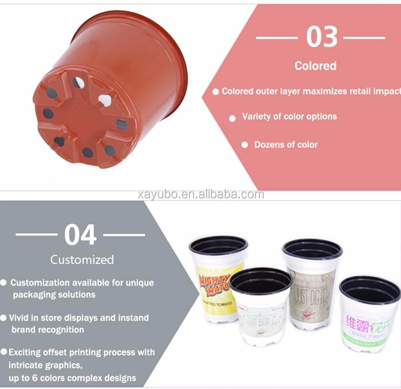 Wholesale hot sale cheap double color printed plastic flower pot