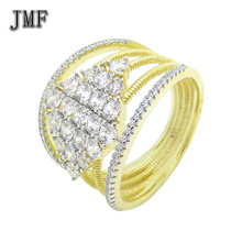 24 k gold jewelry wedding ring man Crystal white stone zircons turkey Rings Hollow Out slim Lines gold plated silver ring