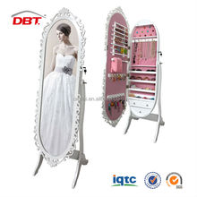 MDF oval mirror jewelry cabinet