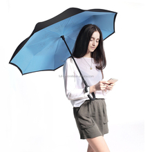 C-Shaped Hands Free Handle Innovative Umbrella Double Layer Reverse Umbrella for Car and Outdoor Use